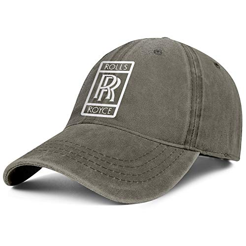 Rolls-Royce-Logo- Mens Women's Washed Cool Cap Adjustable Snapback Sun Hat