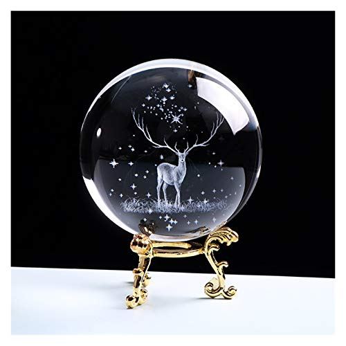 ZNYD 3D Crystal Ball Glass Globe Ornament Miniature Reindeer Home Decor Christmas Decoration Accessories Sphere (Color : With gold base, Size : 6cm ball)