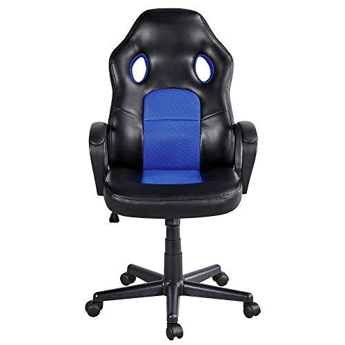 Yaheetech Silla Gaming Sillon Ergonomica Giratoria para Escritorio Oficina Silla Gamer Despacho con Lumbar Ruedas de Ordenador Reclinable Carga de 150 kg Azul