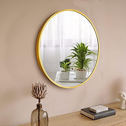 FAUETI Espejo de baño Nordic redondo para colgar en la pared, espejo de baño con marco de aluminio, espejo de maquillaje, decoración de baño