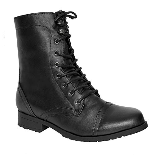 Ladies Womens Low Heel Flat LACE UP Biker Army Military Combat Ankle Boots Size (UK 6 / EU 39 / US 8, Black Faux Leather)
