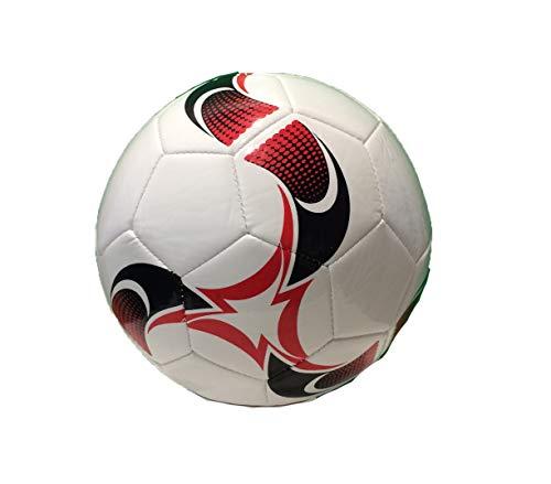 RCG Lederfußball Lederball Größe 5 aus Kunstleder Leather Football Soccer Ball Leather Ball Size 5 Synthetic Leather (Weiß)
