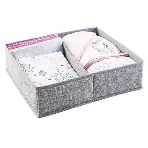 mDesign Baby Organizer - kleine Aufbewahrungsbox mit 2 Fächern - aus atmungsaktivem Polypropylen - perfekt für einen gut sortierten Wickeltisch - auch zur Spielzeug Aufbewahrung geeignet - grau