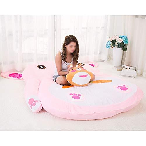 JFTY Felpa Relleno futón colchón Animal Conejo sofá Cama Multifuncional Saco de Dormir Dibujos Animados Tatami colchón Piso Alfombra para Dormir Regalo(Color:Pink,Size:200 * 120cm)