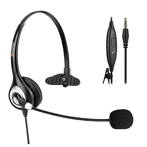 PC Headset(3.5 mm Jack) with Noise Cancelling Boom Mic and Adjustable Fit Headband for iPhone, Samsung, LG, HTC, BlackBerry, Huawei, ZTE Mobile Phone and Smartphones Black
