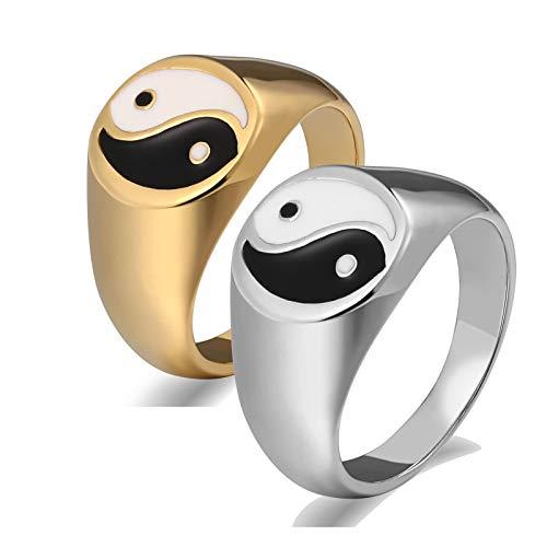 KnSam 2 Stück Ring Verlobungsringe Set Bandringe Frauen Gold Silber Siegelring Yin Yang Damen Gr. 57 (18.1) Herren Gr. 54 (17.2) Silber Gold