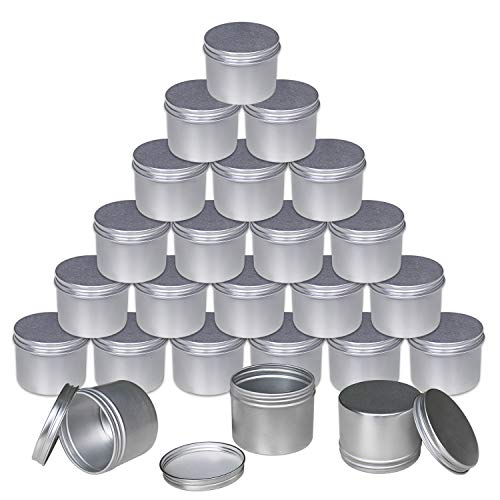 Foraineam 24 Pack 4 oz. Round Tin Cans Hair Wax Cream Lip Balm Cosmetic Sample Container Jars Candle Tea Spice Empty Travel Tins with Screw Lid