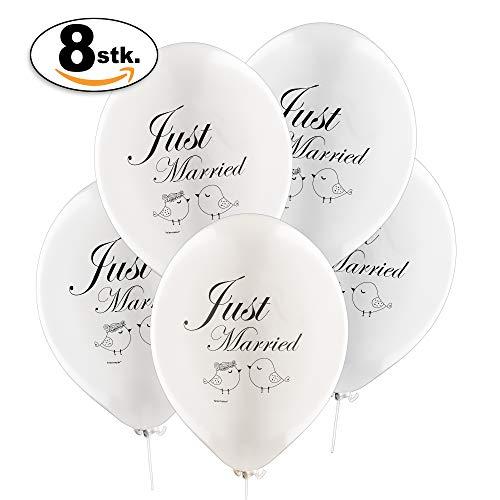 feiermeier® Latexballons Hochzeits-Ballons Just Married süßes Motiv Vögelchen 8 STÜCK ca. 33 cm Ø in PERLMUT