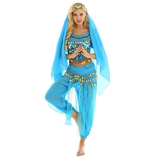 Freebily Vestito Danza del Ventre Donna Schiena Scoperta Danza Orientale Completo Costume Carnevale Donna Principessa Araba Belly Dance Cosplay Halloween Lago Blu Taglia Unica