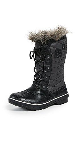 SOREL - Women's Tofino II Waterproof Insulated Winter Boot with Faux Fur Cuff, Black, Stone, 9.5 M US