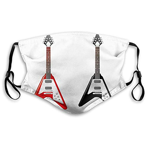 Unisex Windproof and Dustproof Mouth Mask Musical Instrument with V Shaped Design Famous Rock and Roll Strings Creativity,Facial Decorations for adultsM