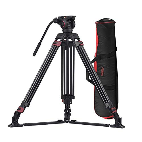 miliboo MTT609A Heavy Duty Aluminum Fluid Head Camera Video Tripod for Camcorder/DSLR Professional Monopod Tripod Stand 66.5 inch Max Height with 15 kilograms Max Load and Ground Spreader Design