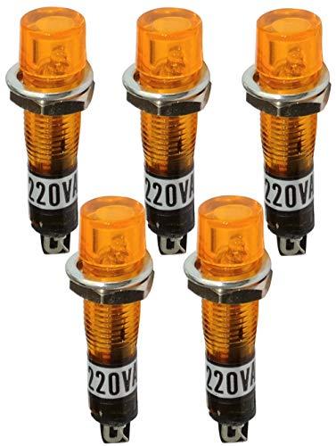 AERZETIX - 5 x Kontrollleuchte rund - 230V AC - Orange - Neonlichtlampe - Ø 7,5 mm - C43609