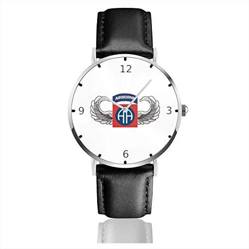 Men's Fashion Minimalist Wrist Watch Quartz Wrist Watch S Army 82nd Airborne Jump Wings Leather Strap Watch