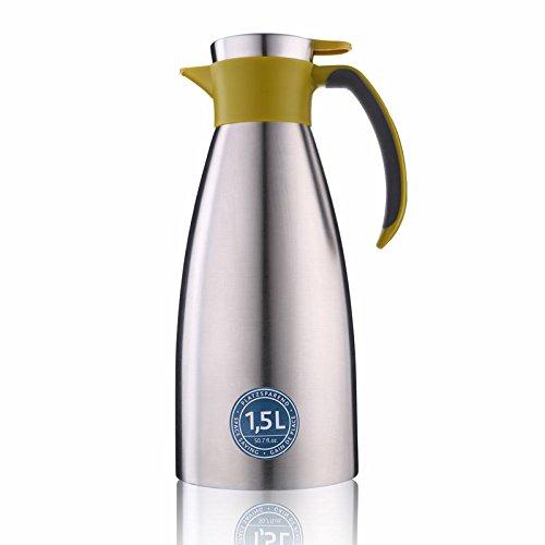 Emsa 514502 Isolierkanne, Edelstahl, 1.5 Liter, Quick Tip Verschluss, 100% dicht, Grün, Soft Grip