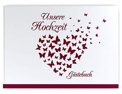 Gästebuch Hochzeit - Hardcover, ohne Fragen, A4 quer, Butterfly Heart (weinrot)