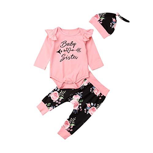 Geagodelia Babykleidung Set Baby Mädchen Langarm Body + Hose + Stirnband Mütze Kleinkinder Neugeborene Weiche Warme Babyset Bekleidung Little Sister (0-6 Monate, Pink & Schwarz Blumen 156)