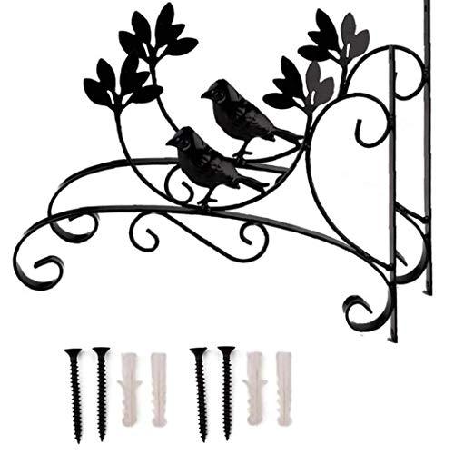 LAANCOO 2 piezas colgantes Planta soporte metálico ganchos de percha de Hierro colgante de pared de soporte de la cesta Holder Bird Negro de Flores artificiales Balcón Jardín