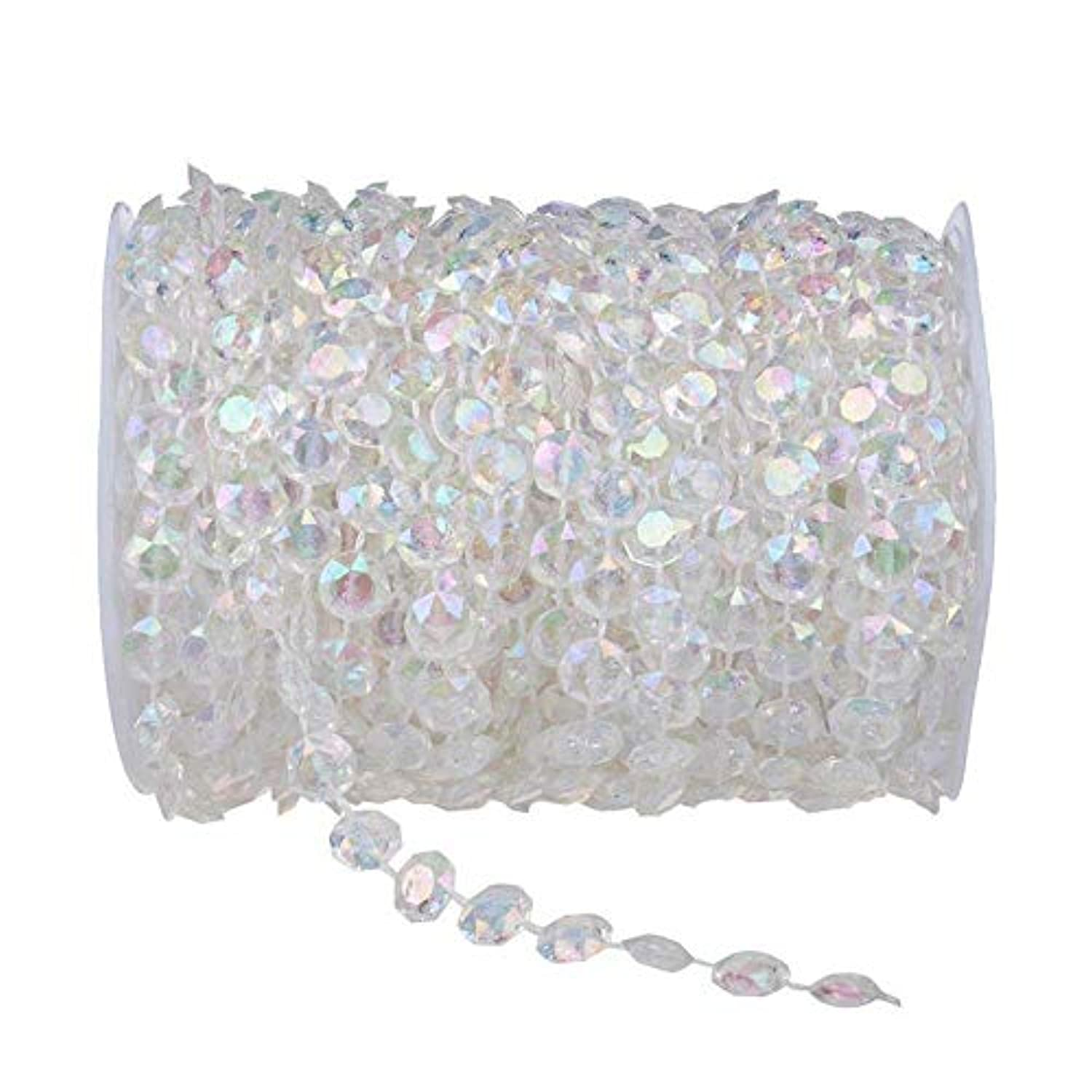 Colorsheng 99 ft Crystal Like Beads String Bead Chain Crystal Garland by the roll - Wedding Decorations Christmas Partyand Good for Home Yard Decoration (Colorful)