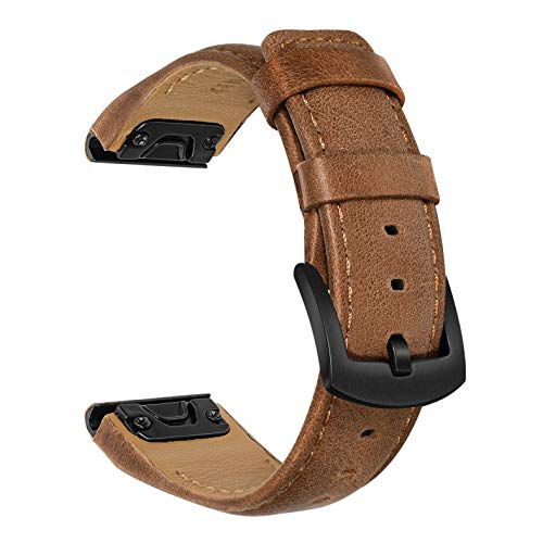 TRUMiRR Watchband for Fenix 6X/6X Pro/6X Pro Solar/6X Sapphire/5X/5X Plus, 26mm Quick Release Easy Fit Watch Band Genuine Cowhide Leather Strap Sports Wristband for Garmin Fenix 3/3 HR/Descent Mk1