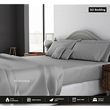 SGI bedding QUEEN SHEETS LUXURY SOFT 100% EGYPTIAN COTTON - Bed Sheet Set for Queen Mattress Silver Gray SOLID 600 Thread Count Deep Pocket