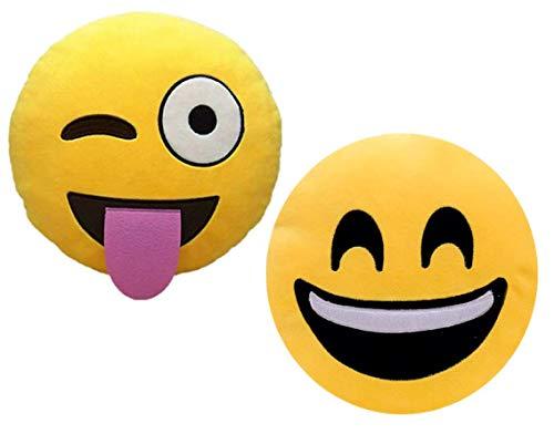 ML SonrRISA-LENGU - Set di 2 cuscini con emoji e imbottitura morbida, 35 x 35 x 5 cm ciascuno.