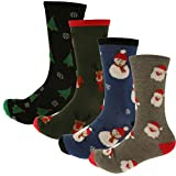 RJM Herren Baumwollreich Weihnachtssocken Größe 7-11 - Herren, 4er Packung Multi, One Size