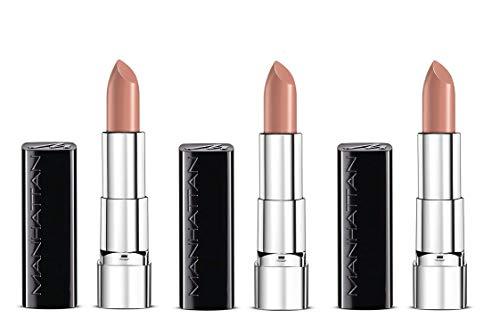 Manhattan Moisture Renew Lipstick, cremiger Lippenstift, feuchtigkeitsspendend, intensiv, langanhaltend (3er Pack) (200 Cream Nude)