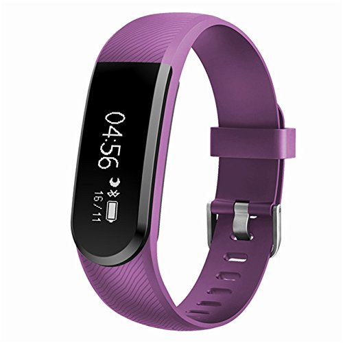 """Smartband, Bluetooth 4.0 Waterproof Heart Rate Monitor with 0.91""""OLED Touch Panel, Pedometer, Auto Sleep Tracking, Best Fitness Tracker for iPhone X/8/ 7/6, Ipad, Samsung Galaxy S8/S7/Edge (Purple)"""