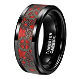 Wow Jewelers Black Red Tungsten Rings for Men Women Wedding Bands Steampunk Gear Wheel Real Opal Inlay Beveled Edges Comfort Fit