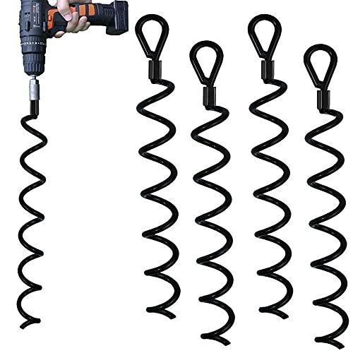 Jayzod 46cm Spiral Earth Ground Hochleistungs-Schuppenanker-Kit Ideal als Hundebinder-Pfahl Sichern von Tieren, Zelten, Vordächern, Schuppen, Carports, Schaukelsätzen, 4er-Pac