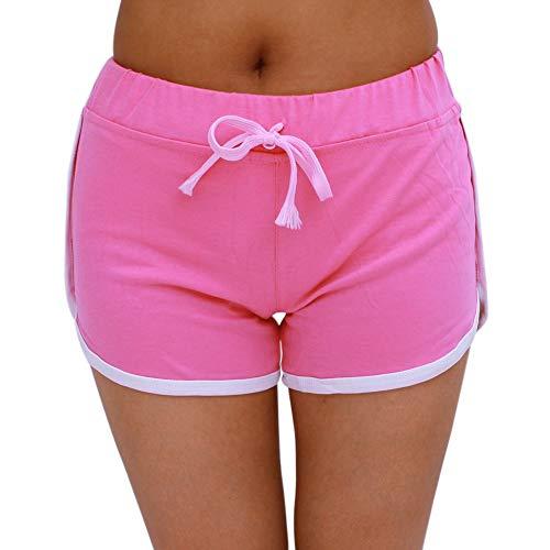 HaiDean Damen Jogahose Sportliche Hose Casual Sporthose Frauen Sweatpants Modernas Sommer Fitness Short Jogginghose Traininghose Hotpant (Color : Pink, One Size : M)