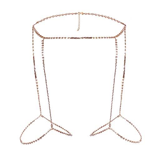 KYMLL Layered Strass Body Chain Taille Belly Chain Bein Oberschenkelkette Sexy Beach Bikini Body Accessoires Schmuck für Frauen und Mädchen,Golden