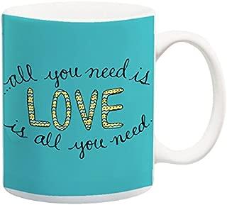 All You Need Is Love Mug Song Lyrics Teal and Yellow Coffee Cup Love Quote Mug 11 oz Mug