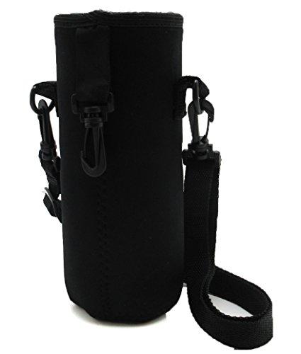 [パンダファミリー] 水筒カバー ペットボトル 水筒ホルダー 防水 無地 迷彩 肩掛け紐付き 男女兼用 ブラック Mサイズ