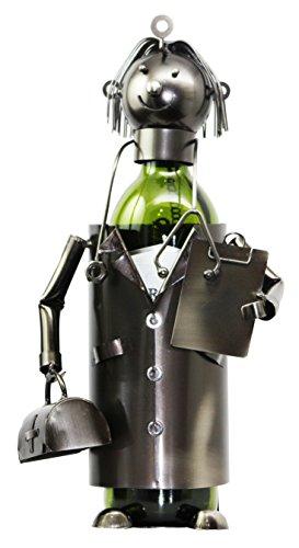 Doctor Arzt Hand Made Metall Weinflaschenhalter Caddy Figur