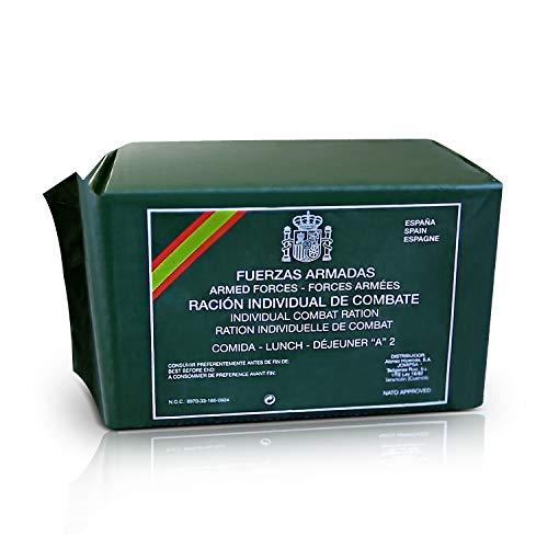 FFAA Comida Militar Española MRE Ración Individual de Combate Fuerzas Armadas España. Alimento de Superviviencia, Camping, Acampada, Kit de Emergencias. Diferentes Menus Aleatorio Tipo A