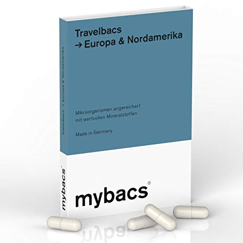 Travelbacs: Verdauung im Einklang auf Reisen in Europa & Nordamerika | 11 spezifisch ausgewählte Bakterienkulturen [37.5 Milliarden KbEs] | 10 Kapseln | von mybacs