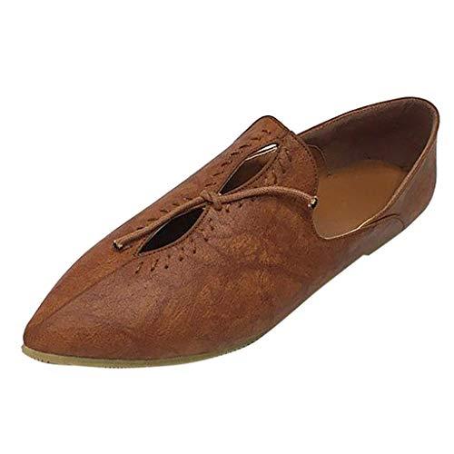 YEARNLY Schuhe Damen Flache Frauen Frühling und Herbst wilde Retro- Wohnung mit flachem Mund des Bogens einzelne Schuhe Erbsenschuhe Schwarz Weiß Braun