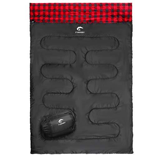FYManny Saco de dormir doble para camping, forro interior de algodón/franela, 220 x 150 cm, para 3 estaciones, uso en exteriores e interiores, comodidad de 20 °C a 5 °C, extrema: + 0 °C.