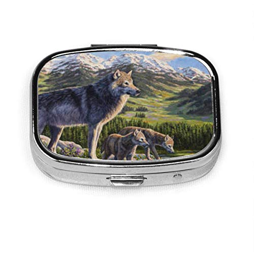 Fashion Square Pill Box Medicine Storage Bag Pocket Or Easy to Use Pillcase Medicine Bag Storage Bag Wolf-Painting-Passing