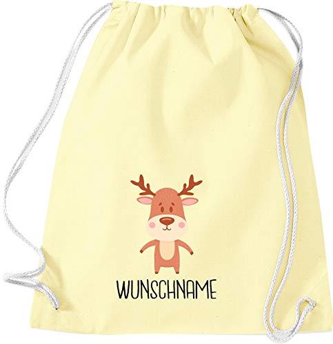 Kleckerliese Sac de gym en tissu pour enfant avec inscription en allemand « Tiermotiv » et nom au choix (Animaux, élan, cerf, jaune pastel)