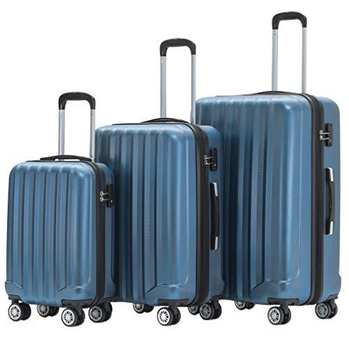 BEIBYE TSA-Schloß 2080 Zwillingsrollen 3 TLG. Reisekofferset Koffer Kofferset Trolley Trolleys Hartschale (Blau)