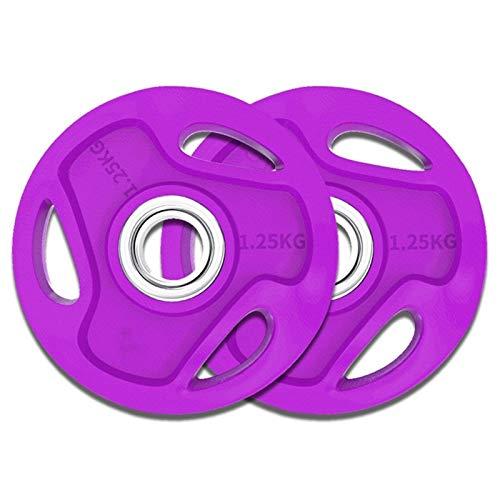 Ownlife Barbell Platte Farbige Handgriff Olympic Gummi Fractional Gewicht Plates Fitness Hantelscheiben for Krafttraining Set 2 (Größe : 1.25KG*2)