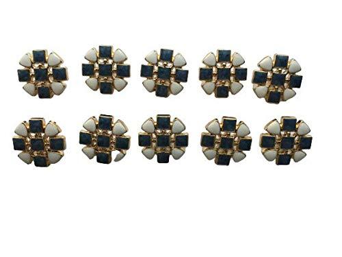 青×白 ボタン約19mm 10個 ハンドメイド材料 アクセサリーパーツ デコ 服飾 手芸 クラフト