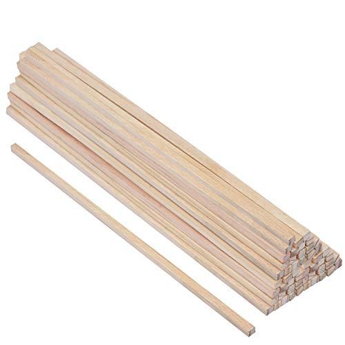 Holzstäbe (50-er Pack) - (30cm x 6mm) Quadratische Naturholz Dübelstangen - Bastel Holz aus Unbehandeltem Holzstab für DIY Basteln, Modellieren, Holzstab, Holzstäbe zum Dekoration