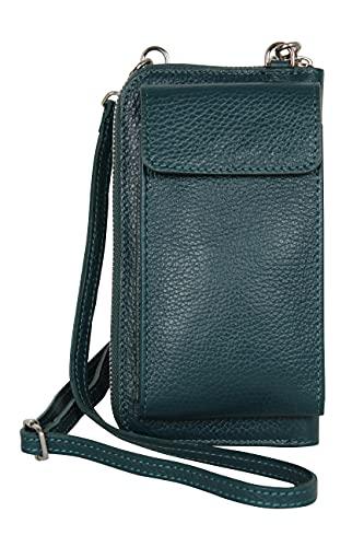 AmbraModa GLX21 - multifunktionale Damen Handytasche, Umhängetasche, Geldbörse aus echtem Leder, geeignet für Handys bis 6,5 Zoll (Petrol)