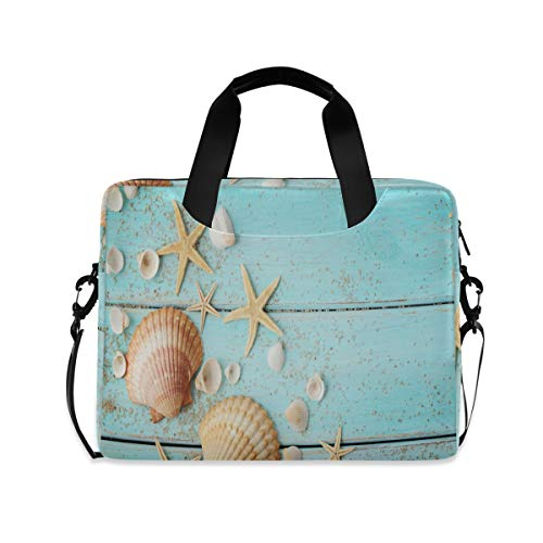 MAHU Laptop Case Bag Ocean Animal Starfish Seashell Laptop Sleeves Briefcase 13 14 15.6 inch Computer Messenger Bag with Handle Strap for Women Men Boys Girls