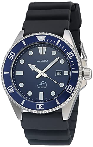 Casio Diver Inspired Stainless Steel Quartz Watch with Resin Strap, Black, 25.6 (Model: MDV106B-2AV)