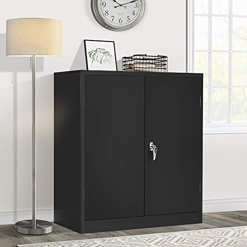 Metal Storage Cabinet Lockable Steel Storage Cabinet with Doors and Shelves, Pataku Office Storage Cabinet for Home, Office, Garage, Warehouse, Basement (Black)